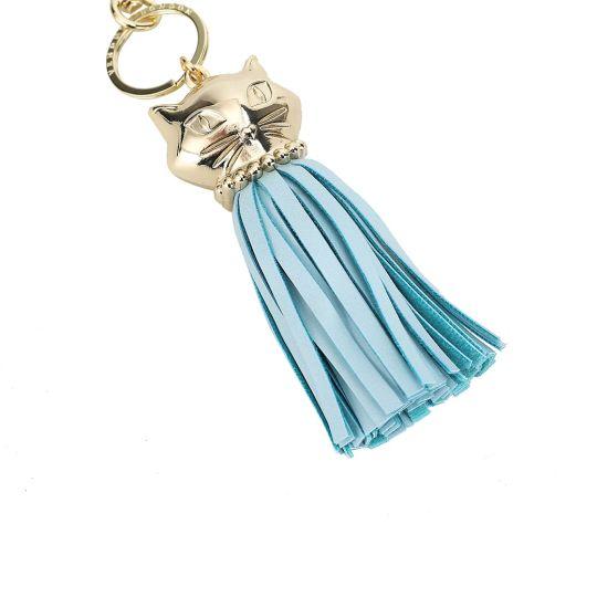 Autumn Floral Cat Tassel Key Charm-Blue