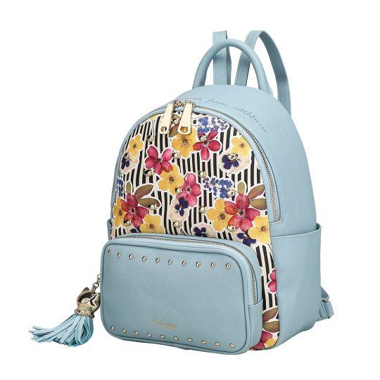 Autumn Floral Studded Backpack-Blue