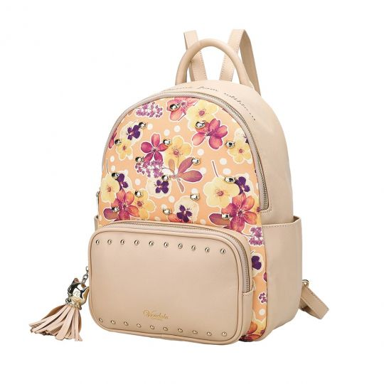 Autumn Floral Studded Backpack-Nude