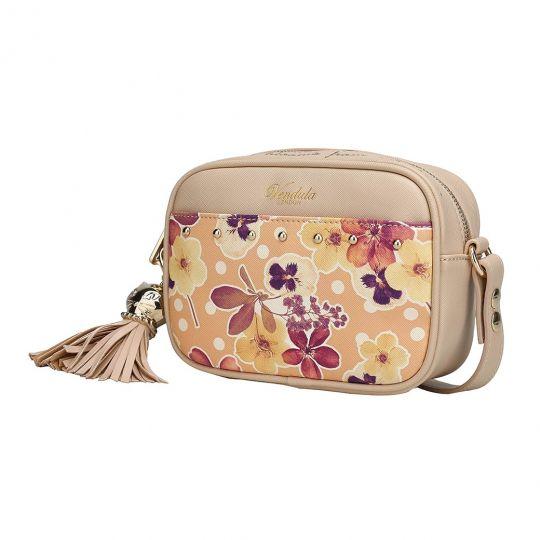 Autumn Floral Kamerabox Tasche mit Nieten besetzt - Beige