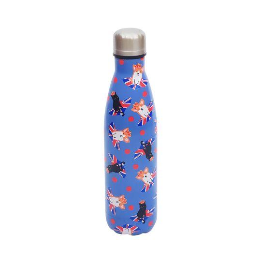 Vendula Cats and Corgis Blue Insulated Water Bottle 500ml