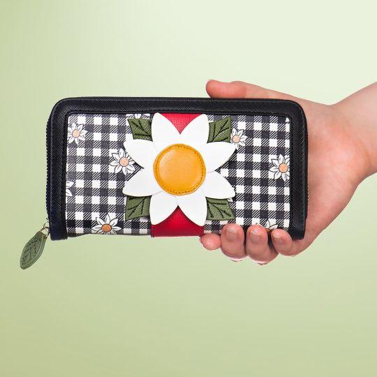 Große Portemonnaie mit Rundum Reißverschluss Daisy Garden