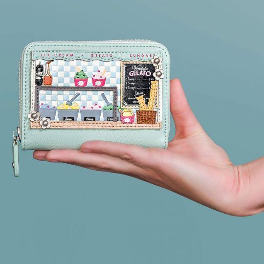Kleine Portemonnaie mit Rundum Reißverschluss Gelato Truck