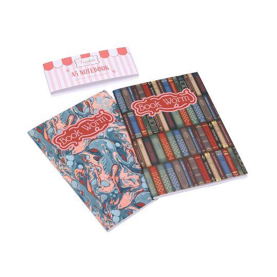 Vendula Library A5-Paperback-Notizbuch, 2er-Set