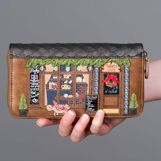 Große Portemonnaie mit Rundum Reißverschluss Winter Café