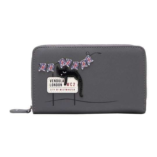 London Cats Medium Ziparound Wallet – Grey