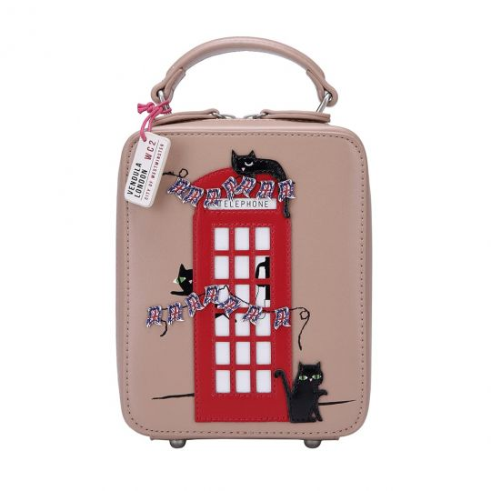 London Cats Crossbody Bag – Beige