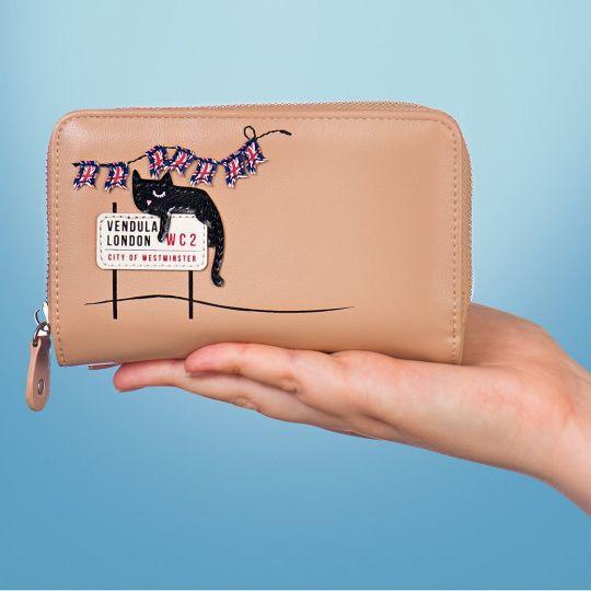London Cats Medium Ziparound Wallet – Beige
