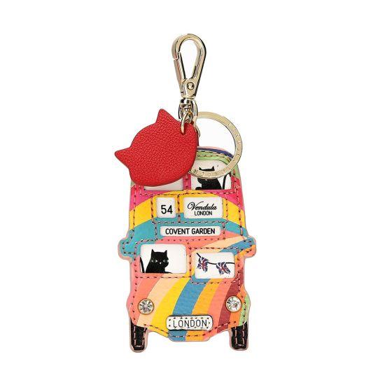 London Rainbow Bus Key Charm