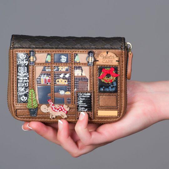 Kleine Portemonnaie mit Rundum Reißverschluss Winter Café
