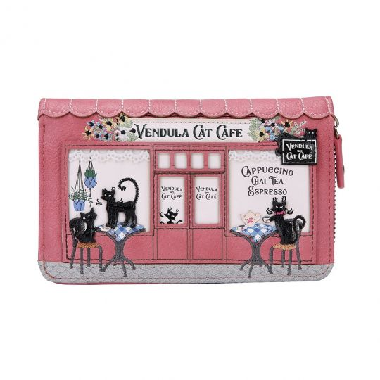 Vendula Cat Café Medium Ziparound Wallet