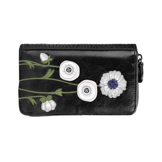 White Poppy Medium Ziparound Wallet