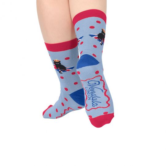 Vendula Woven Cat Blue Socks