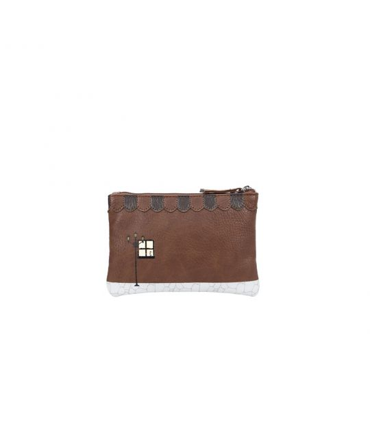 Old Book Shop Zipped Coin Purse - Coffee