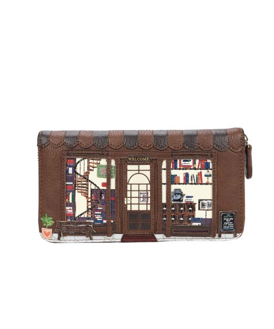Old Book Shop Large Zip Around Wallet - Coffee
