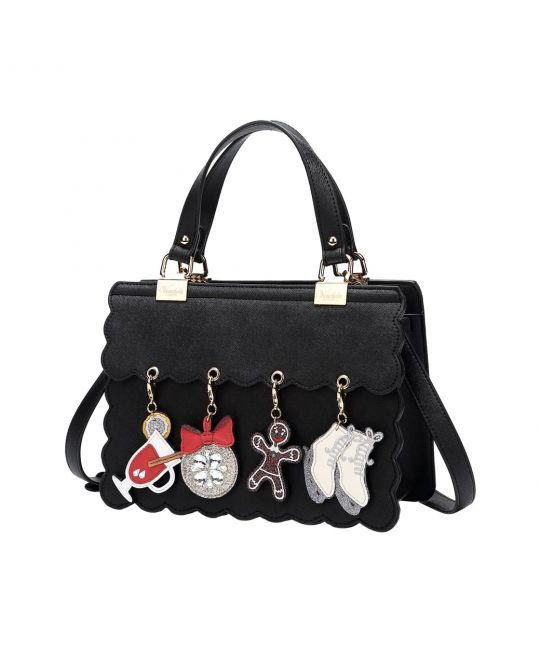 Charm Handbag with Scalloped Edges - Black