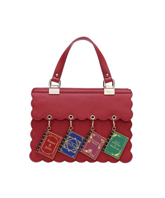 Charm Handbag with Scalloped Edges – Burgundy