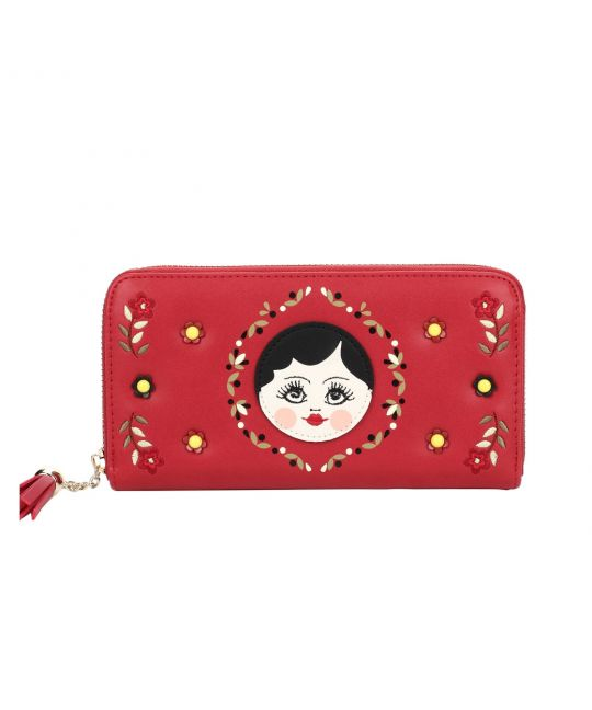 Russian Dolls Zip around Wallet - Red