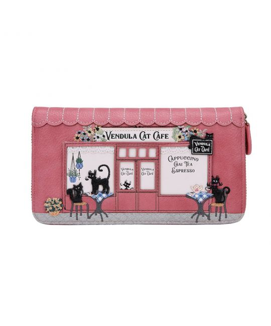 Vendula Cat Café Large Ziparound Wallet