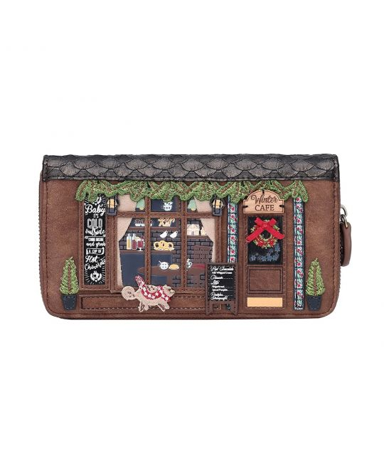 Winter Café Large Ziparound Wallet