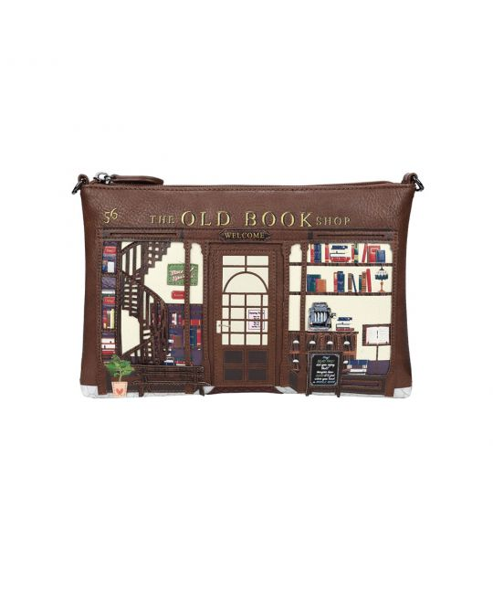 Old Book Shop Pouch Bag - Coffee