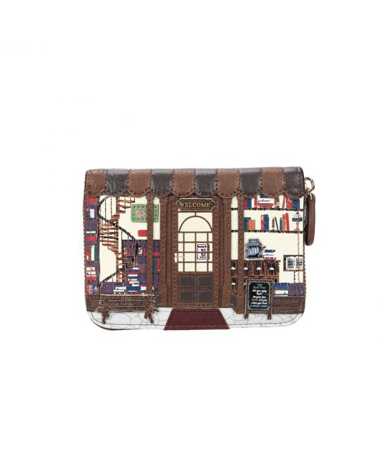 Old Book Shop Small Zip Around Wallet - Coffee