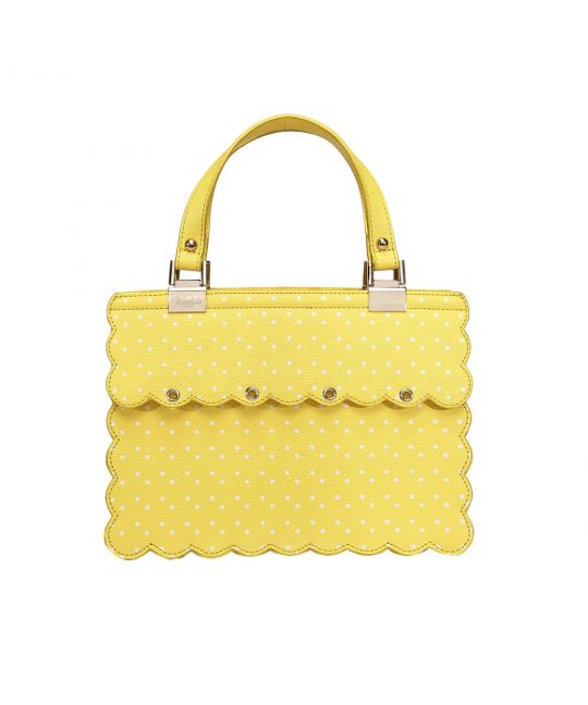 Charm Handbag with Scalloped Edges - Lemon