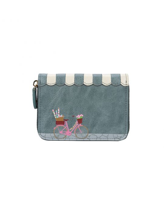 Sewing Shop Denim Small Zip Around Wallet