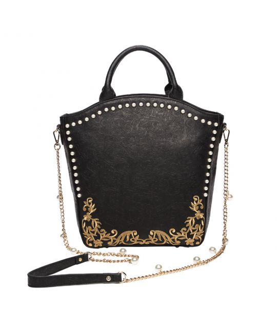 Crystals and Pearls Embellished Tote Bag - Pearly Queen
